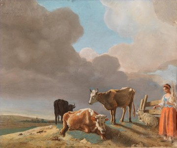 sifting the past landscape with cows sheep and shepherdess Oil Paintings