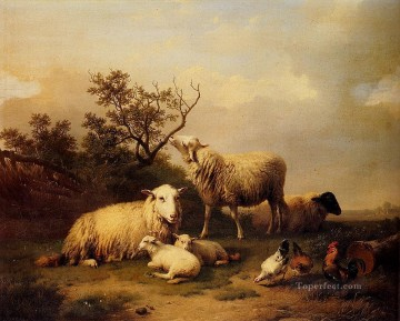 Animal Painting - Belgium Verboeckhoven Eugene Sheep With Resting Lambs And Poultry In A Landscape