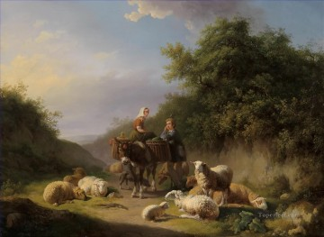 Animal Painting - Eugene Verboeckhoven Schafhirte und Hirtin sheep