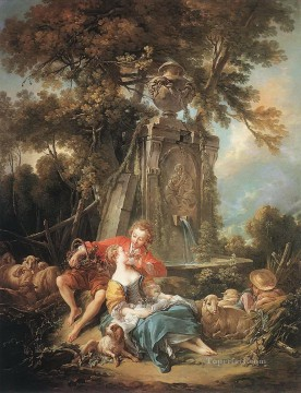 Francois Boucher An Autumn Pastoral sheep Oil Paintings