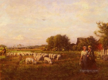 Animal Painting - La Bergere countryside Realist Jules Breton sheep