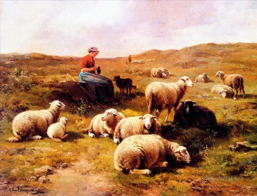 Leemputten shepherdess Oil Paintings