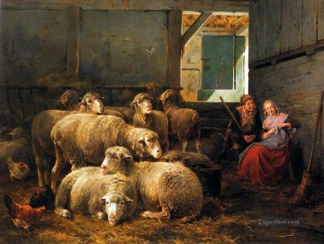 Animal Painting - Leemputten van Cornelis Col David Making court Sun sheep