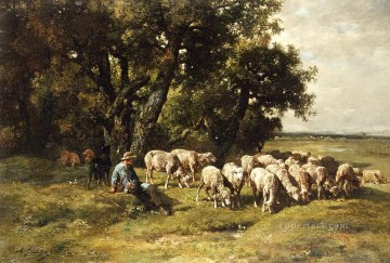 Animal Painting - a shepherd and his flock charles emile jacques