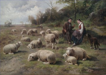 Cornelis van Leemputten Schaferpaar mit Herde sheep Oil Paintings