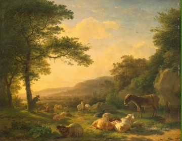 Artworks in 150 Subjects Painting - Ommeganck Balthazar Pau Landscape with a Flock of Sheep