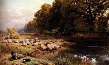 Artworks in 150 Subjects Painting - The Shepherds Rest scenery Victorian Myles Birket Foster