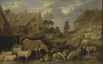 动物绘画 - Teniers David II Landscape with a Shepherd and a Flock