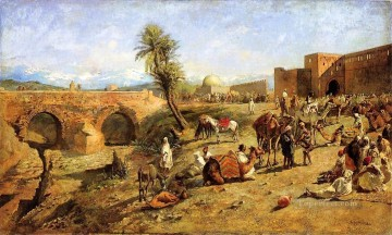 Arrival of a Caravan Outside The City of Morocco Arabian Edwin Lord Weeks Oil Paintings