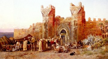 The Departure Of A Caravan From The Gate Of Shelah Morocco Arabian Edwin Lord Weeks Oil Paintings