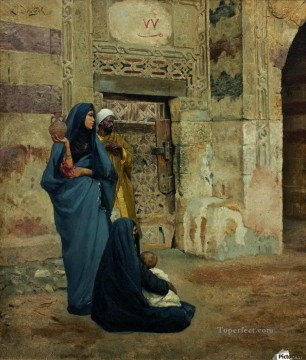 A family at the door near entrance Ludwig Deutsch Orientalism Araber Oil Paintings