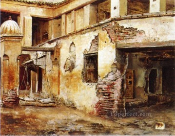 Arab Painting - Courtyard in Morocco Arabian Edwin Lord Weeks