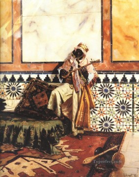 Arab Painting - Gnaoua in a North African Interior Arabian painter Rudolf Ernst