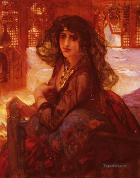 Arabic Oil Painting - Harem Girl Arabic Frederick Arthur Bridgman