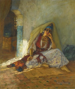 Arab Painting - PENSIVE MOMENTS Frederick Arthur Bridgman Arab