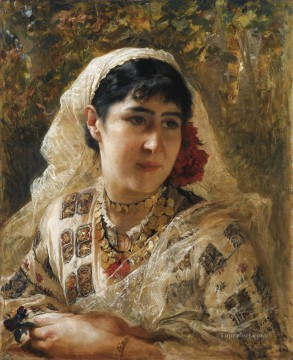 Arab Painting - PORTRAIT OF A YOUNG WOMAN JEUNE ORIENTALE Frederick Arthur Bridgman Arab