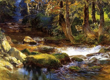Bridgman Oil Painting - River Landscape with Deer Frederick Arthur Bridgman Arabs