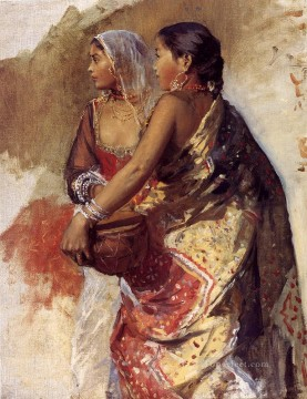 Girls Canvas - Sketch Two Nautch Girls Arabian Edwin Lord Weeks