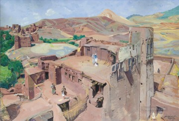 Sur les Terrasses de Tazouda Jacques Majorelle Orientalist Modernist Araber Oil Paintings