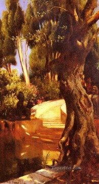 Arab Painting - The Staircase Under The Trees Arabian painter Rudolf Ernst