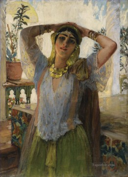 Arab Painting - YOUNG ORIENTAL WOMAN ON A TERRACE Frederick Arthur Bridgman Arab