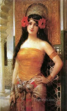 Artworks in 150 Subjects Painting - beautiful Arabian girl with red flowers woman