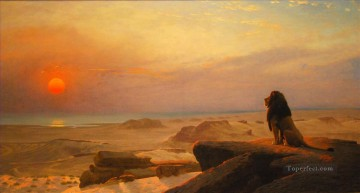 lion dusk Jean Leon Gerome Arabs Oil Paintings