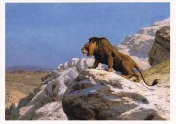 lion on rock Jean Leon Gerome Arabs Oil Paintings