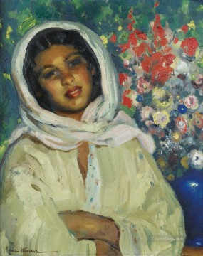 young woman with a flower bunch Jose Cruz Herrera genre Araber Oil Paintings