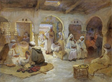 A COFFEE HOUSE ALGERIA Frederick Arthur Bridgman Arab Oil Paintings