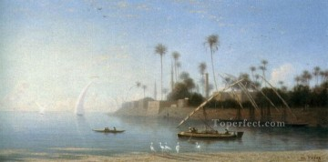 A View of Beni Souef Egypt Arabian Orientalist Charles Theodore Frere Oil Paintings