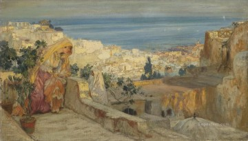 Arab Painting - ARAB WOMEN ON A ROOFTOP ALGIERS BEYOND Frederick Arthur Bridgman Arab