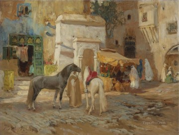 Arab Painting - AT REST OUTSIDE THE CITY WALLS Frederick Arthur Bridgman Arab