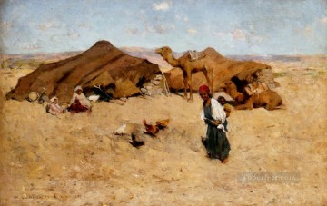 Arab Canvas - Arab Encampment Biskra scenery Willard Leroy Metcalf