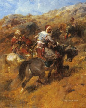Arab Painting - Arab Warriors On A Hillside Arab Adolf Schreyer