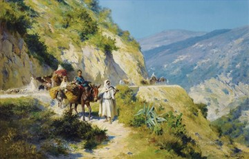 Arabs in migration Eugene Girardet Araber Oil Paintings