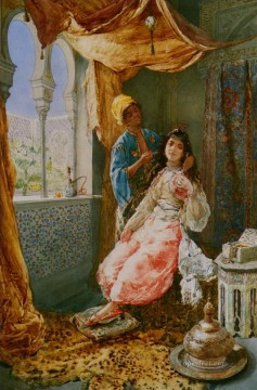 Amedeo Oil Painting - Attending the Princes Amedeo Arabs