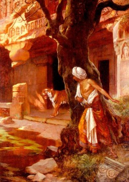 Arab Painting - Awaiting The Tiger Arabian painter Rudolf Ernst