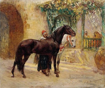 Arab Painting - BARBARY HORSES AT CAIRO Frederick Arthur Bridgman Arab