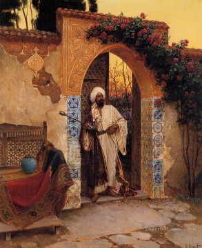 By the Entrance Arabian painter Rudolf Ernst Oil Paintings