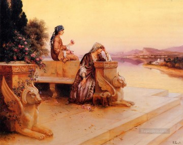 Arab Painting - Elegant Arab Ladies on a Terrace at Sunset Arabian painter Rudolf Ernst