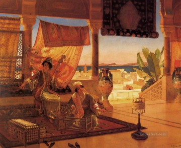 Arab Painting - Ernst Rudolph The Terrace Arabs