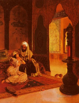 Arab Painting - Favorite Of The Farm Arabian painter Rudolf Ernst
