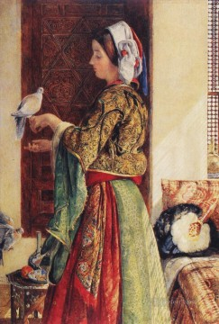 Girl with Two Caged Doves Oriental John Frederick Lewis Arabs Oil Paintings