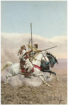 horse canvas - Giulio Rosati Two Arab horsemen