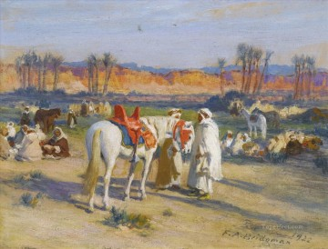 Arab Painting - HALT IN THE DESERT Frederick Arthur Bridgman Arab