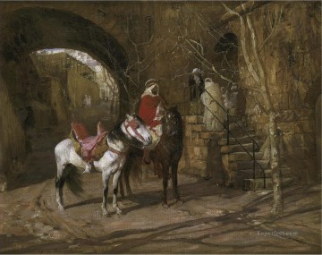 Arab Painting - HORSEMAN IN A COURTYARD Frederick Arthur Bridgman Arab
