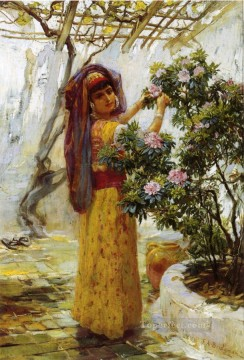 Arabic Oil Painting - In the Courtyard Arabic Frederick Arthur Bridgman