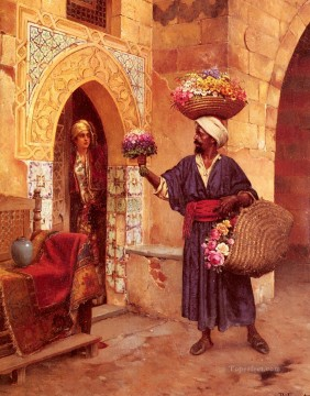 Le Marchand De Fleurs Arabian painter Rudolf Ernst Oil Paintings