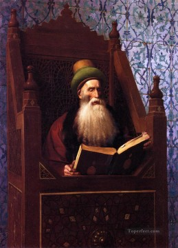 Arab Painting - Mufti Reading in His Prayer Stool Arab Jean Leon Gerome